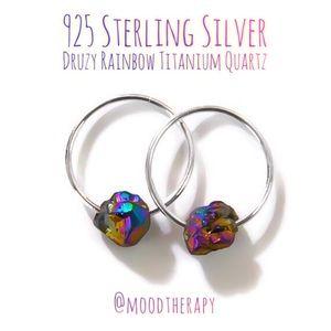 Druzy/Drusy Stone Sleeper Hoop Earrings